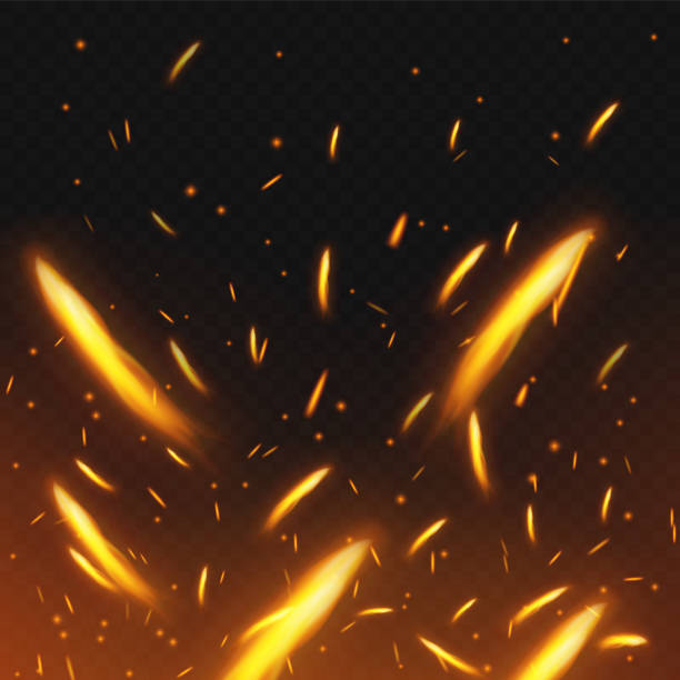 Fire sparks flying. Firestorm texture. Sparks charcoal. on transparent background. Vector illustration. Fire sparks flying. Firestorm texture. Sparks charcoal. on transparent background. Vector illustration. Eps 10. shooting a weapon stock illustrations