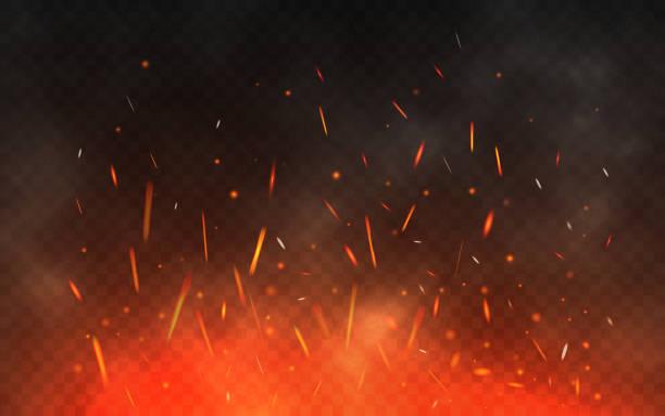 feuer funken fliegen. glühende partikel auf einem transparenten hintergrund. realistische feuer und rauch. rote und gelbe lichteffekt. vektor-illustration - feuer stock-grafiken, -clipart, -cartoons und -symbole