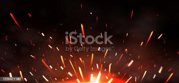 Weld sparks isolated on black background. Vector realistic flare effect of metal welding or blacksmith works. Flying glowing particles and smoke of industrial works with steel or burning fire