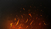 Fire sparks on dark transparent background. Flying up sparks, burning fire particles with smoke texture. Realistic flame effect. Vector