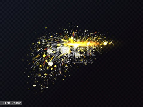 Fire sparks of metal welding or cutting flare sparkles. Vector illustration of firework light particles or starburst fiery explosion on transparent background
