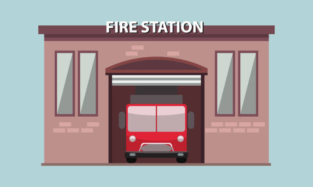 Fire station building exterior with fire truck in it. Vector illustration. Fire station building exterior with fire truck in it. Flat and solid vector illustration. fire station stock illustrations
