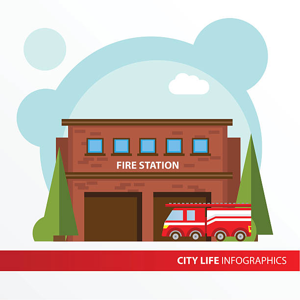 Fire station building icon in the flat style. Fire station building icon in the flat style. Emergency fire office. Concept for city infographic. Different types of Municipal life of the city in the flat style. fire station stock illustrations