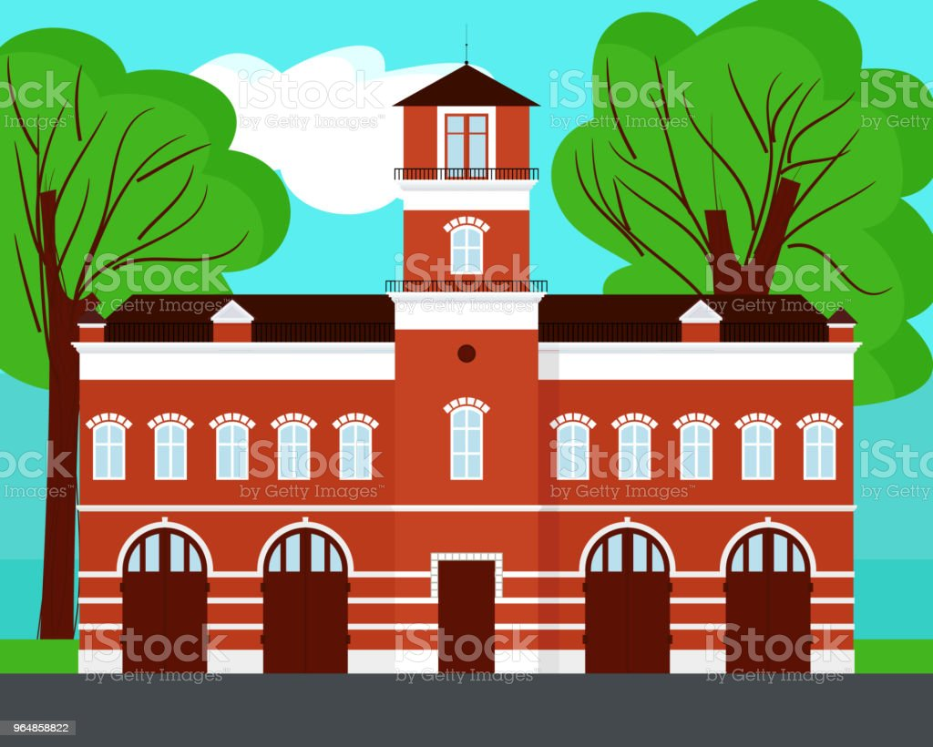 Fire station cartoon on landscape royalty-free fire station cartoon on landscape stock vector art & more images of cartoon
