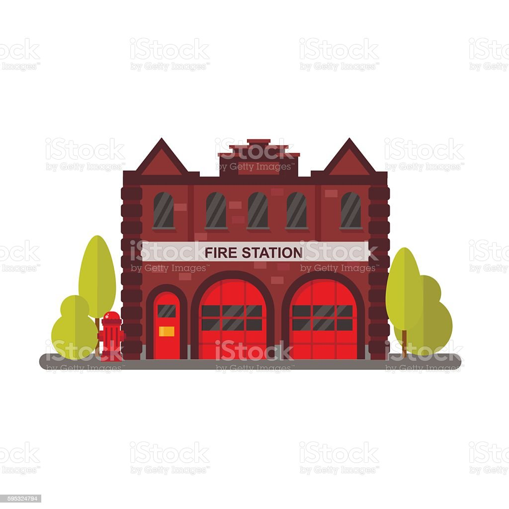 Fire station flat vector illustration. - ilustración de arte vectorial