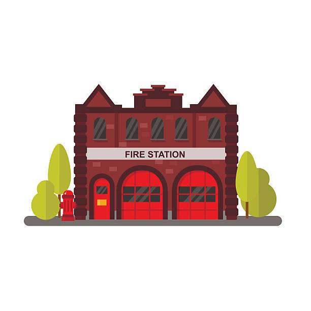 Fire station flat vector illustration. Fire station flat vector illustration. fire station stock illustrations