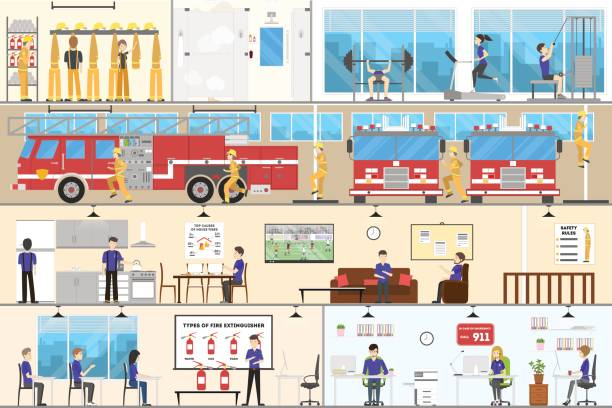 Fire station Interior set. Fire station Interior set. Garage with cars, offices and more. fire station stock illustrations