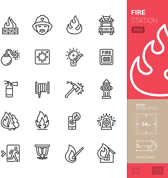 Fire station vector icons - PRO pack 20 vector and perfect pixel stroke style icons set representing a Fire Station and Fire Fighter theme.  fire station stock illustrations