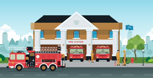 Fire station Staff and fire trucks are in front of the station. fire station stock illustrations