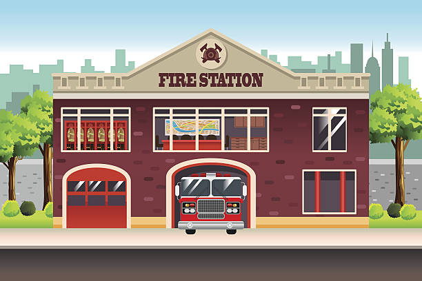 Fire Station A vector illustration of Fire Station fire station stock illustrations