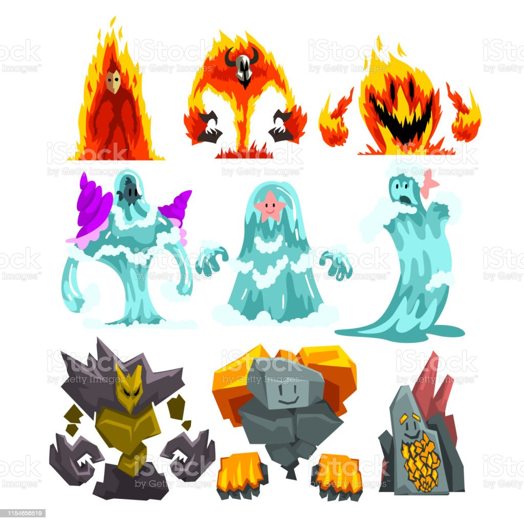 Fire Stone And Water Monsters Set Fantasy Mystic Creatures