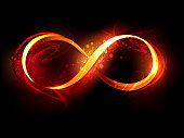 Symbol of infinity made of fire and flame on black background.