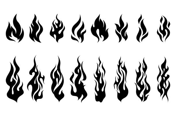 fire tattoo vector set - fire tattoos stock illustrations, clip art, cartoons, & icons