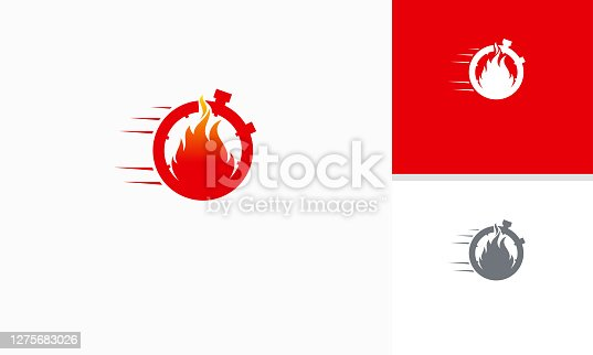 istock Fire Time logo designs template, Fast Timer logo symbol, Fire and Stopwatch logo symbol icon template 1275683026