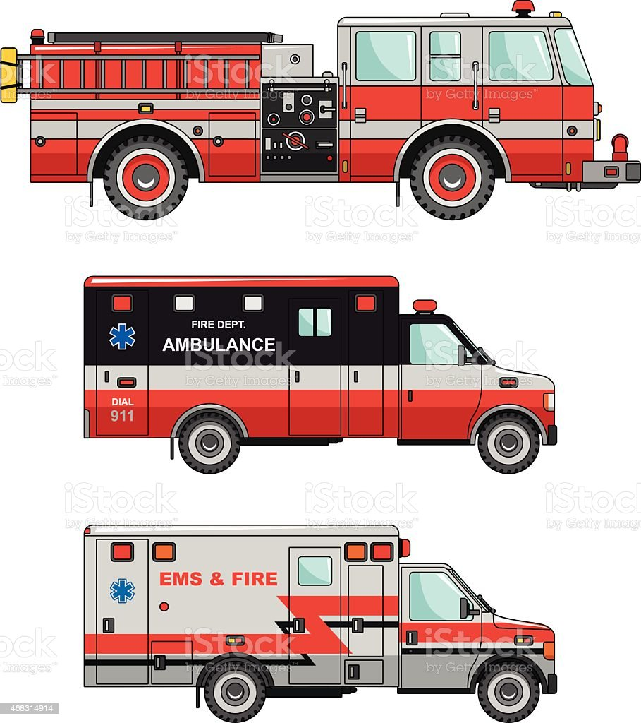 Fire truck and ambulance cars isolated on white background vector art illustration