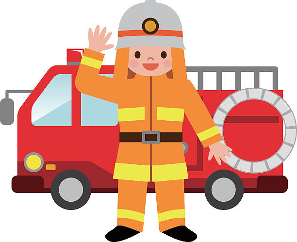 fire truck and firefighters children - 消防士点のイラスト素材/クリップアート素材/マンガ素材/アイコン素材