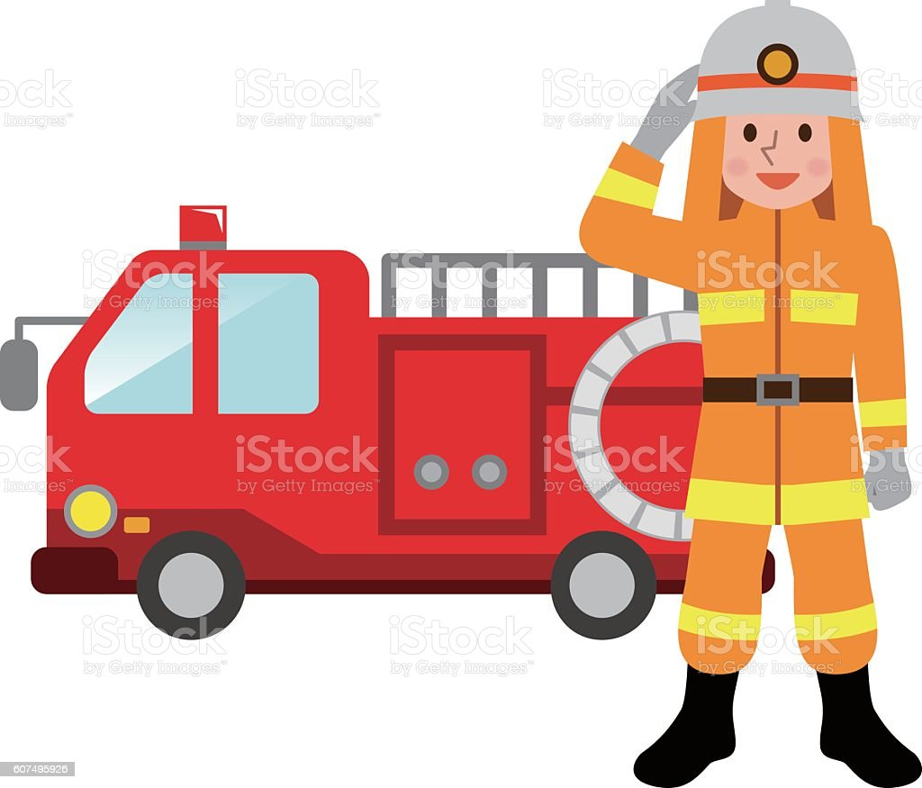 fire truck and firefighters stock vector art more images of adult rh istockphoto com Firefighter Symbol Clip Art Firefighter Symbol Clip Art