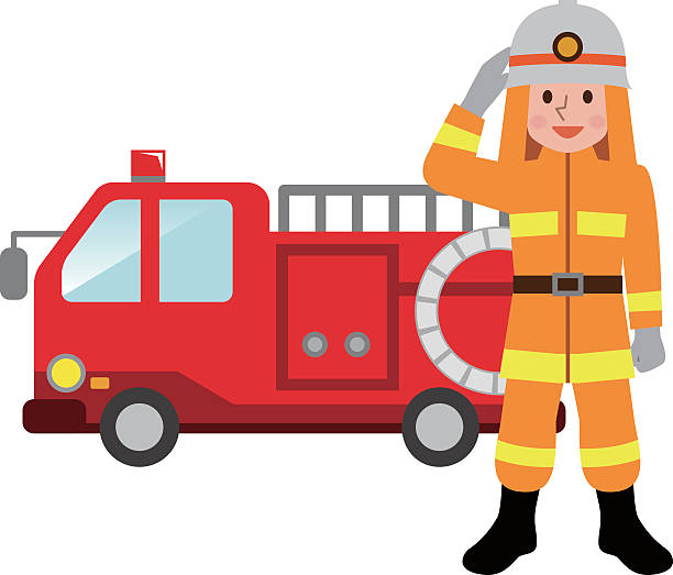 fire truck and firefighters - 消防士点のイラスト素材/クリップアート素材/マンガ素材/アイコン素材