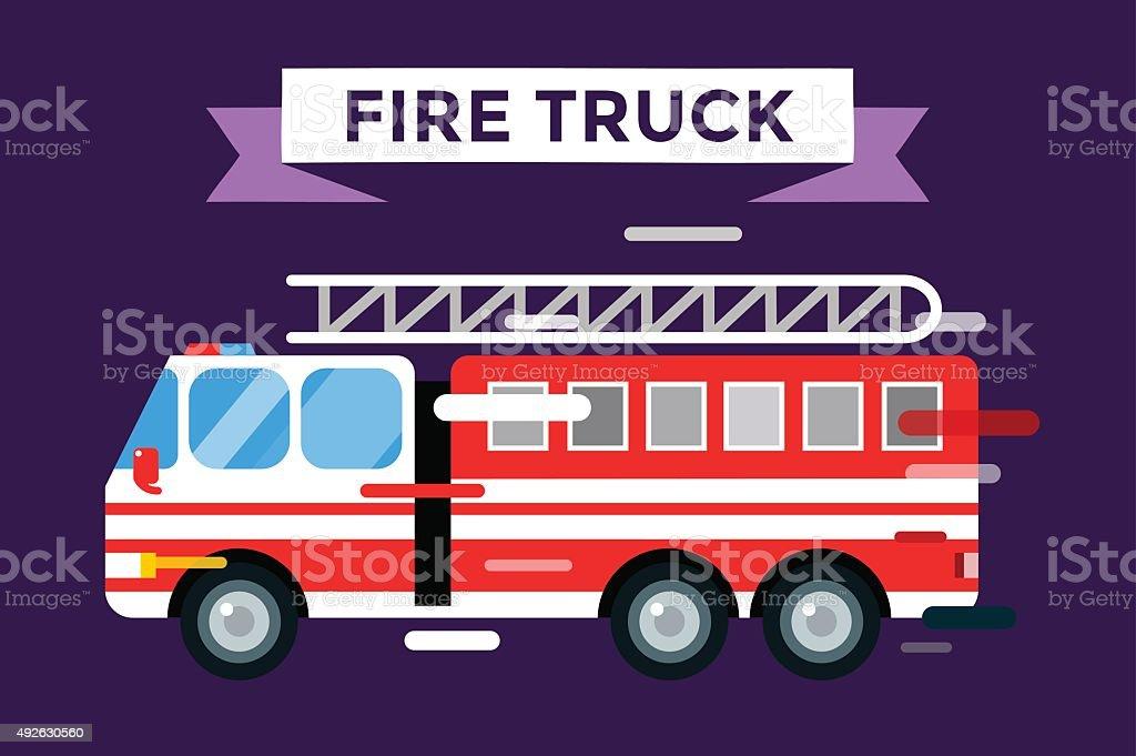 Fire truck car isolated vector cartoon silhouette vector art illustration