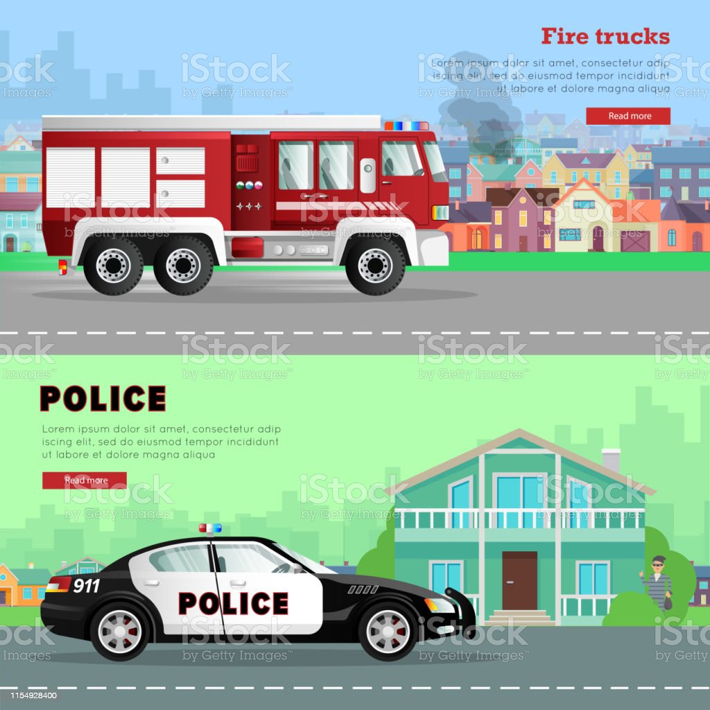 Fire Truck Driving To The And Police Car Stock Illustration - Download  Image Now