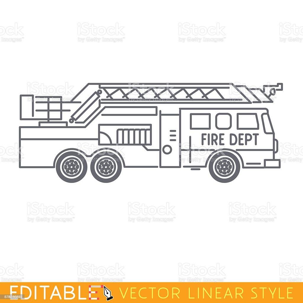 Fire truck. Editable vector icon in linear style vector art illustration