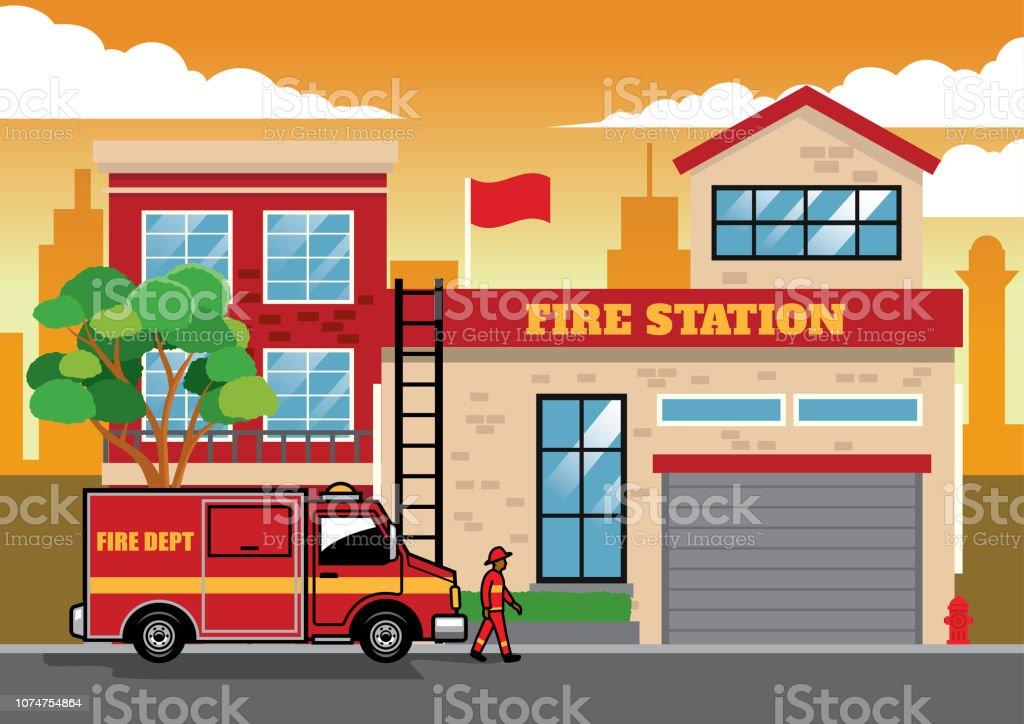 Bâtiment Du Service D'incendie. Caserne De Pompiers Avec Des Camions De  Pompiers. Clip Art Libres De Droits , Vecteurs Et Illustration. Image  82182712.