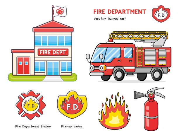 Fire truck isolated, department station building, extinguisher and flame. Fire truck isolated, department station building icon, extinguisher and flame, fireman badge emblem, firefighter cross logo. fire station stock illustrations