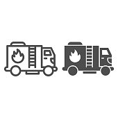 Fire truck line and solid icon, Public transport concept, firefighter truck sign on white background, fire engine icon in outline style for mobile concept and web design. Vector graphics