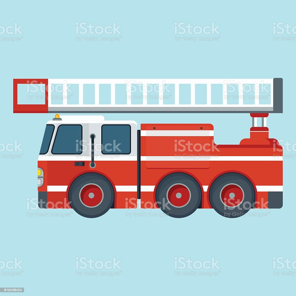 fire truck on blue background vector art illustration