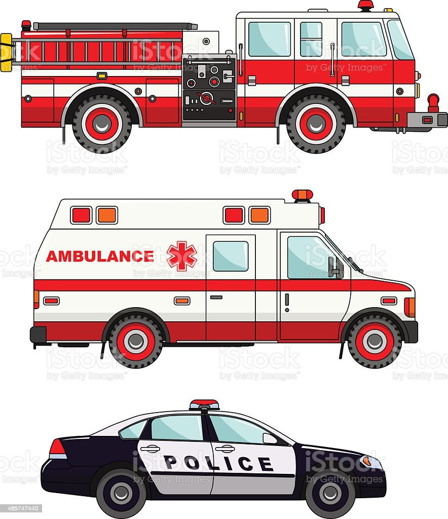 Fire truck, police and ambulance cars isolated on white background