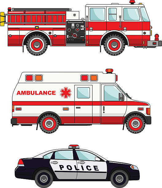 Fire truck, police and ambulance cars isolated on white background vector art illustration