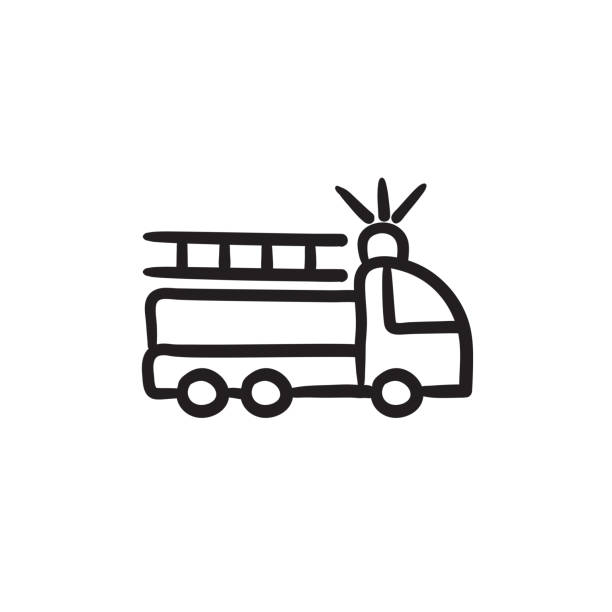 Best Fire Truck Outline Illustrations, Royalty-Free Vector