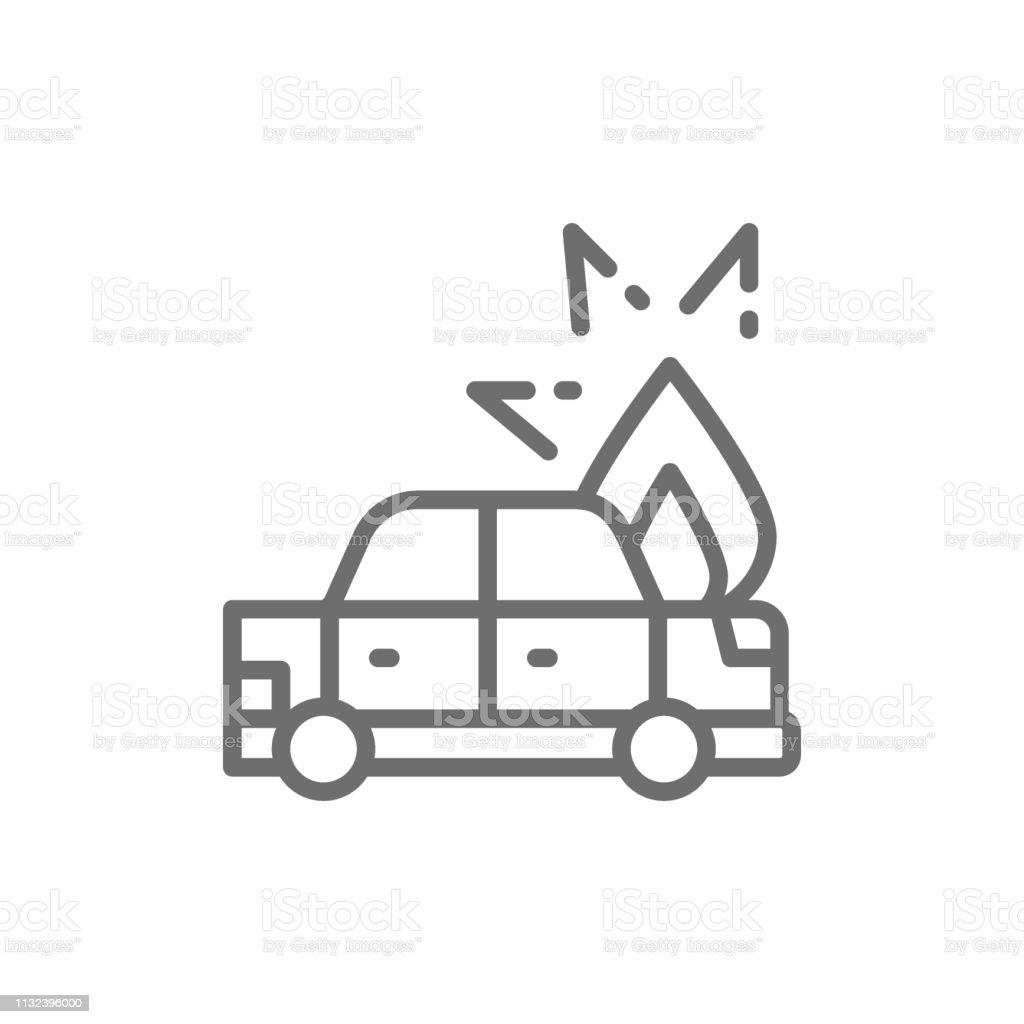 Feuer Unter Motorhaube Von Auto Auto Kaputt Unfalllinie Ikone Stock Vektor Art Und Mehr Bilder Von Auto