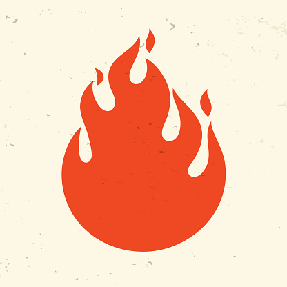 Fire symbol icon design background with space for copy.