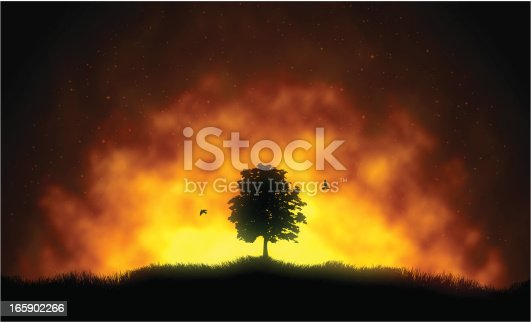 Vector illustration of fire and the silhouette of a tree with flying birds.
