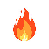 Fire vector isolated on white background.