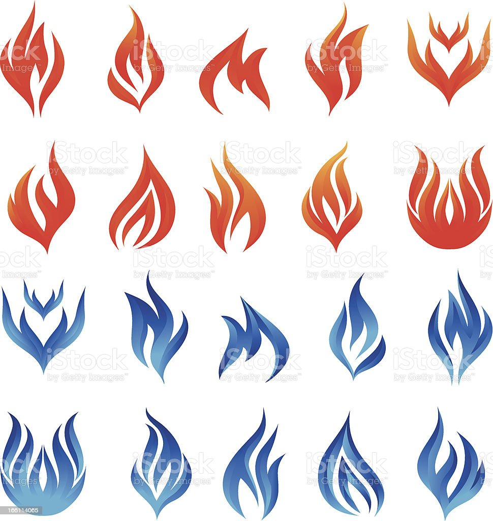 Fire Vector Set vector art illustration