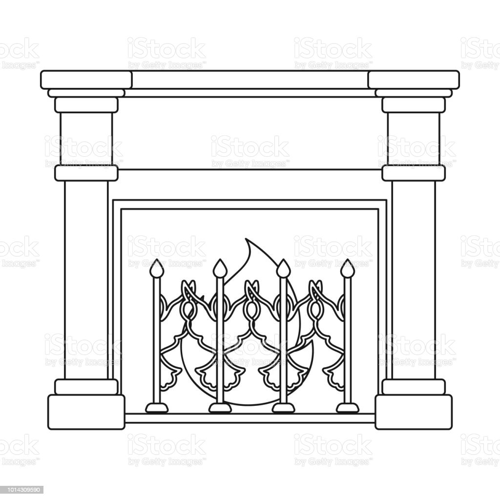 Fire Warmth And Comfort Fireplace Single Icon In Outline Style
