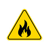 Fire warning icon, sign