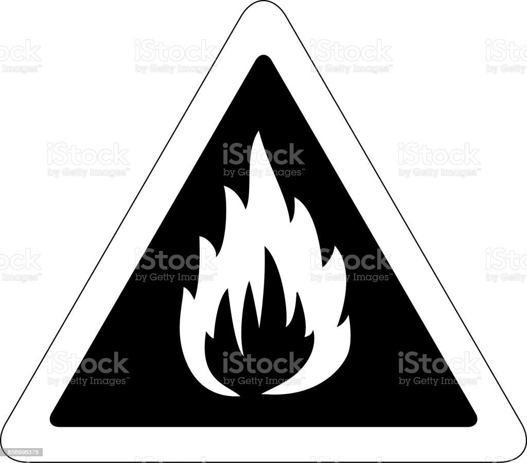 Fire warning sign vector art illustration