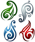 Set of main elements as tattoo emblems: earth, wind, fire and water