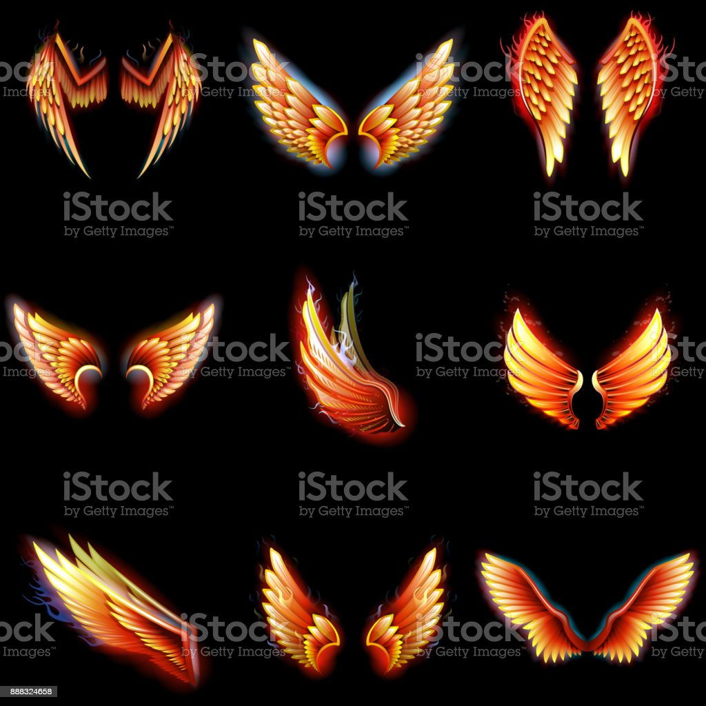 Vector de fuego alas phoenix alas angel ardiente envergadura ardiente fantasía pájaro fireburn inferno en ilustración infierno caliente aislado sobre fondo negro - ilustración de arte vectorial