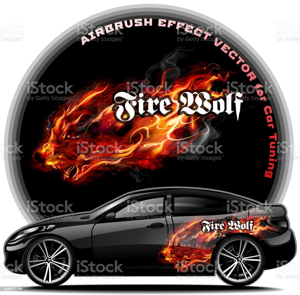 Fire Wolf Airbrush Effect Vector Stock Vector Art More Images Of