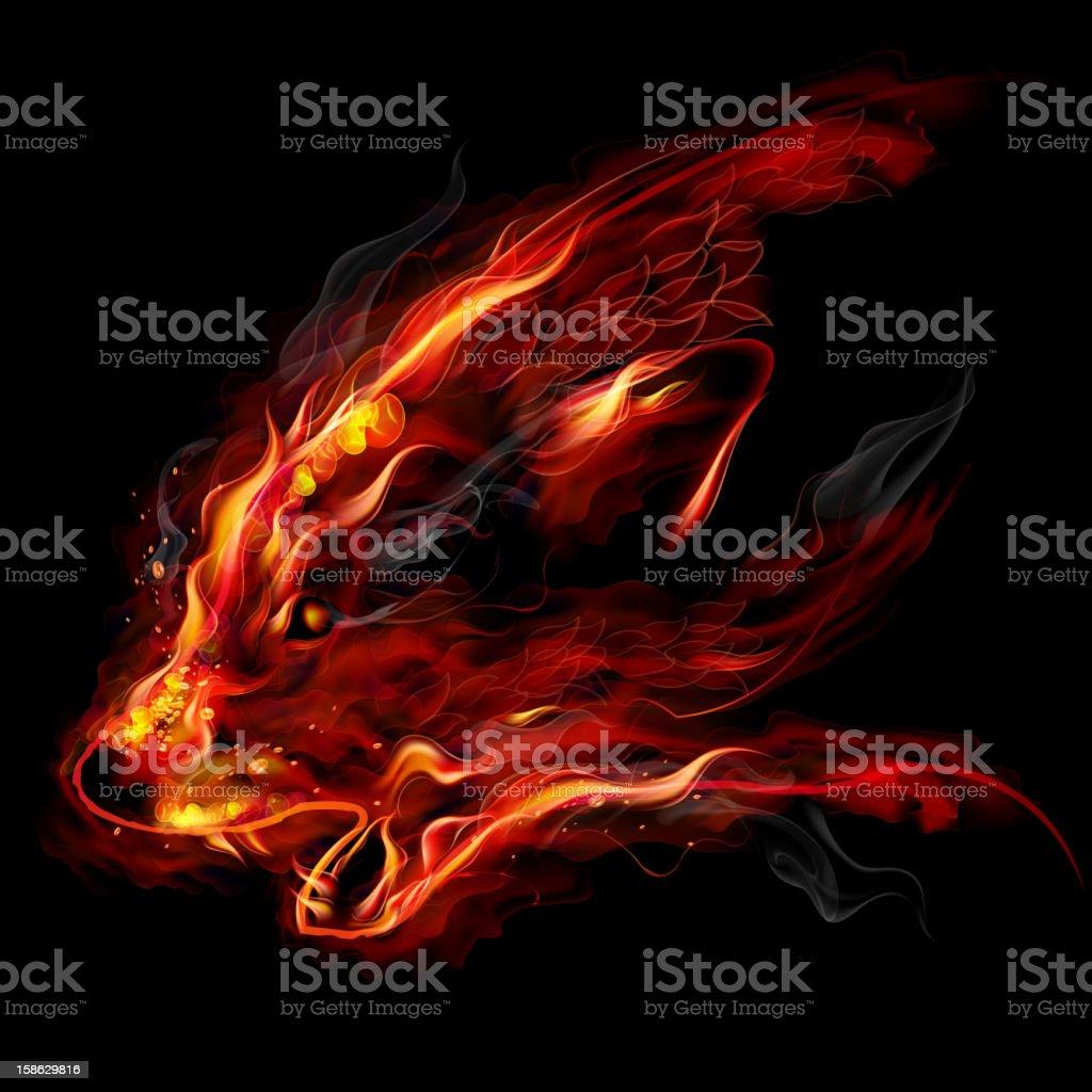 Fire wolf vector art illustration