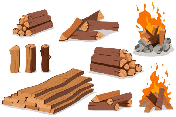 Fire wood and campfire. Log and bonfire vector cartoon flat set isolated on white background. vector art illustration