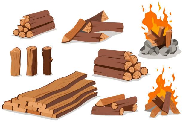 illustrazioni stock, clip art, cartoni animati e icone di tendenza di fire wood and campfire. log and bonfire vector cartoon flat set isolated on white background. - falò