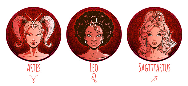 Fire zodiac set, beautiful girls, Aries, Leo, Sagittarius, horoscope symbol, star sign, vector illustration