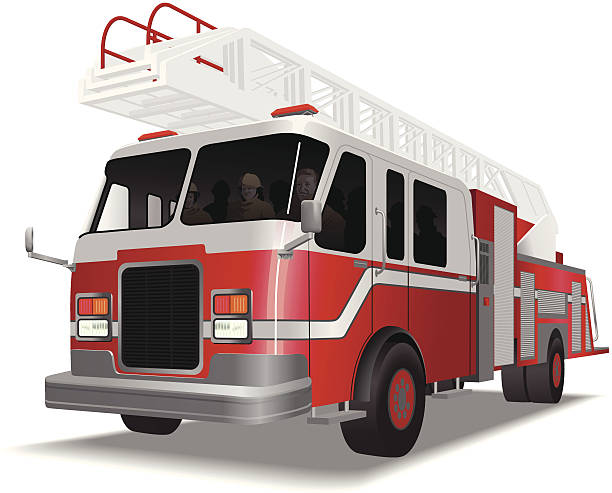 Fire_truck Fire truc with fire man on duthy fire engine stock illustrations