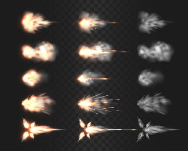 Firearm muzzle flash special effects isolated on transparency grid Firearm muzzle flash special effects isolated on transparency grid, various smoke cloud after gun being fired a realistic vector illustrations, rifle, shotgun, pistol or handgun shot flash collection gun stock illustrations