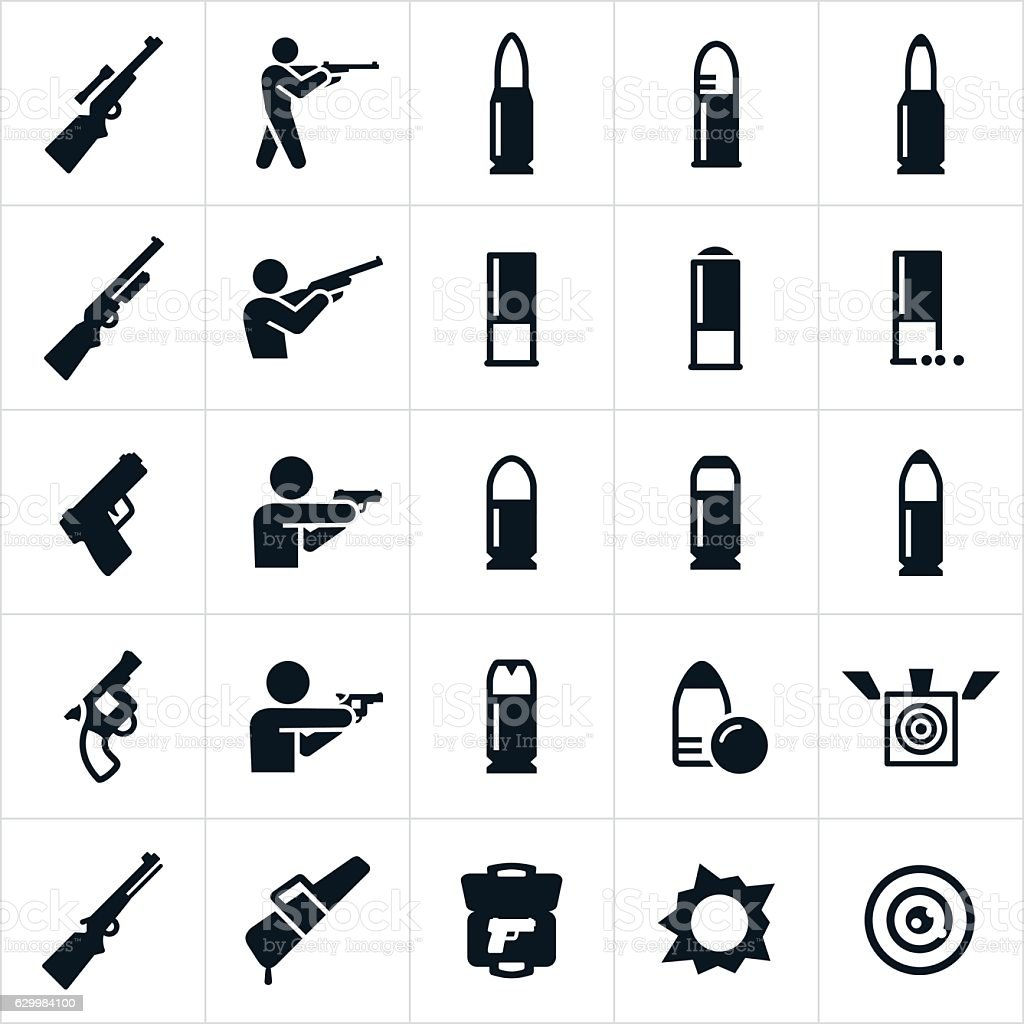 Firearms And Ammunition Icons